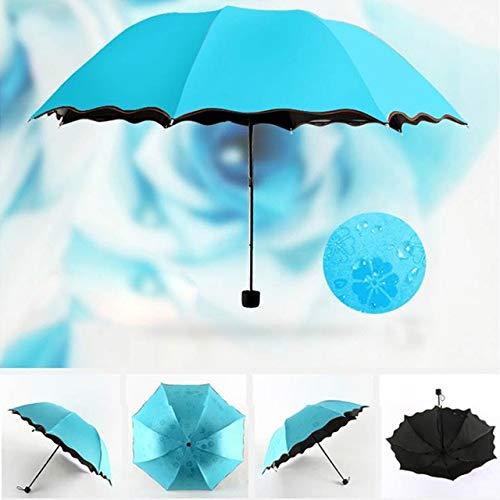 MAWA Paraguas Plegable Resistente al Viento Lluvia floreciente Anti-UV Paraguas Grandes a Prueba de Viento de Lujo Lluvia para Unisex Parasol con Revestimiento Negro CD - Azul Cielo, a2