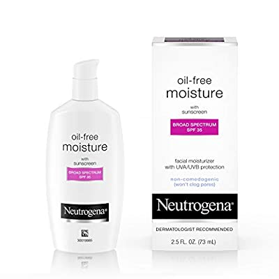 Neutrogena Oil-Free Daily Long-Lasting Facial Moisturizer & Neck Cream, SPF 35 Johnson & Johnson SLC Sunscreen & Glycerin, Non-Greasy, Oil-Free, and Non-Comedogenic Face Moisturizer, 2.5 oz.
