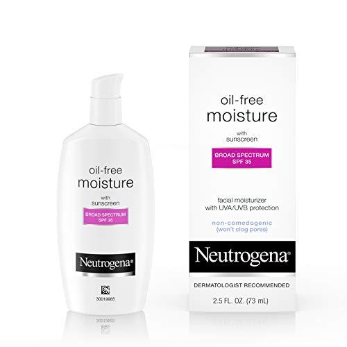 Neutrogena Oil Free Daily Long Lasting Facial Moisturizer amp Neck Cream  Oil Free Moisturizer Won#039t Clog Pores with SPF 35 Sunscreen Glycerin 25 fl oz
