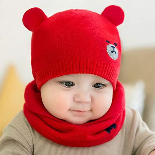 yangzhoujinbei Elaborate herfst en winter zachte schattige geborduurde beer breien wol hoeden+sjaals set kinderen baby warme muts hoed