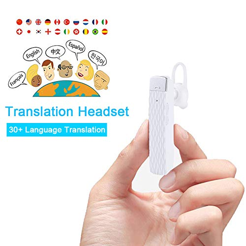 MOSTOP Bluetooth Translator Earbuds Smart Wireless Translation Device Intelligent Headset Instant Portable Translator Suit to Andriod & iOS Real Time Language Translator (White)