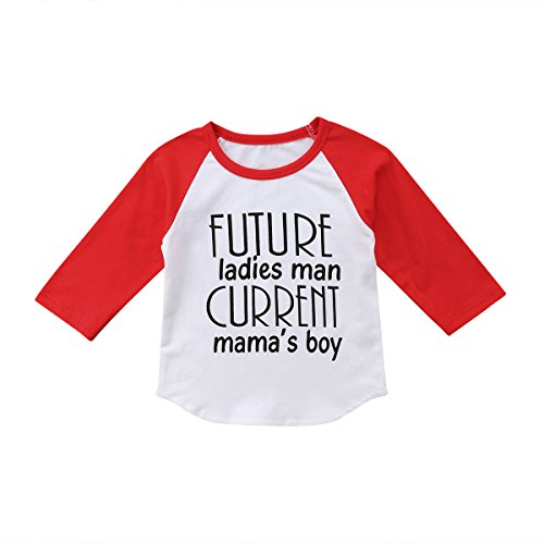 Toddler Kids Little Baby Future Ladies Man Current Mama¡¯s Boy Long Sleeve T-Shirt Tops Outfits (110(4-5 Y), White)