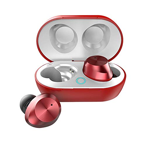 降音碧牙耳機 ブルートゥースヘッドフォンワイヤレスヘッドフォンノイズキャンセリングステレオヘッドセットスポーツ防水軽量イヤホンマイク付きランナーブルートゥース5.0ヘッドセット黒、白、赤、青 (色 : 赤, サイズ : Free)