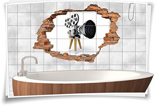 Medianlux 3D tegelafbeelding tegelstickers bioscoop camera film opname studio statief