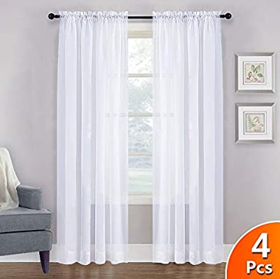 NICETOWN Window Sheer Curtains 63 - Window Treatment Rod Pocket Tulle Voile Drapes/Panels Set for Kitchen (4 Panels, W60 x L63, White)