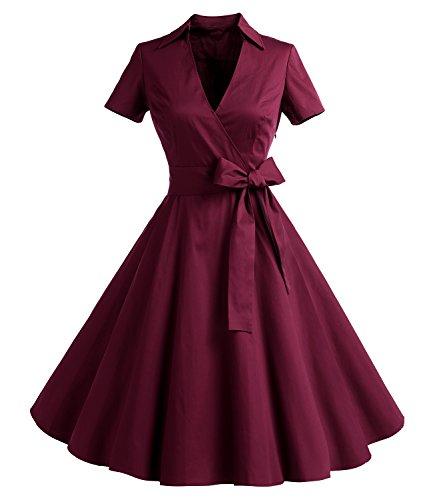 Gonna Vintage Anni 50 60 Audrey Hepburn Vestiti da Cocktail da Donna Elegante di Cotone Manica Corta Burgundy S