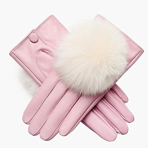 Vhope Dames leren handschoenen Herfst en winter Rijden en fluwelen verdikking Warm schapenvacht handschoenen Zacht en comfortabel-Poeder wit_XL
