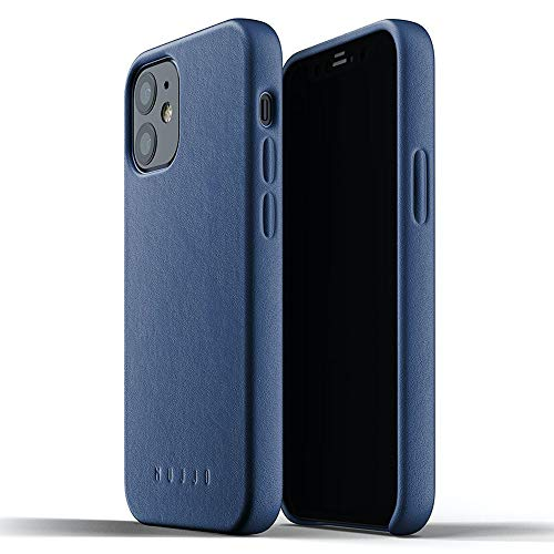 Mujjo iPhone 12 Mini Leather Case Blue - Premium Mobile Phone Case - Extra Thin - Mobile Phone Case - Shockproof Protective Case - Wireless Charging - 5.4 Inches - Unique Natural Ageing Effect