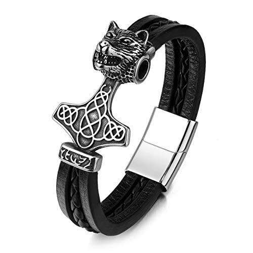 Zysta Wikinger Schmuck- Mjolnir Thors Hammer Herren Armband 3D Wolf-Kopf Keltischer Knoten Lederarmband MIT Magnetverschluss Punk Geschenk für Männer