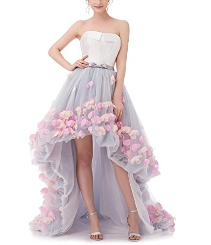 FWVR Women's Off Shoulder Prom Evening Dresses 3D Flowers Hi-Lo Wedding Gowns Gray20
