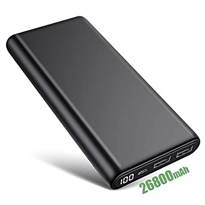HETP 26800mAh Power Bank Portable Charger?100% -0 LCD Display?High Capacity External Battery Pack, ?Charge 2 Phones at the Same Time?Ultra Compact Power Pack Power Banks for Smartphone Tablet and More