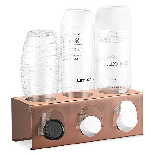 ecooe Abtropfhalter Abtropfhalter aus Edelstahl Abtropfständer für SodaStream und Emil Flaschen Platz Für 3 Flaschen und 3 Deckel Spülmaschinenfest (Farbe Kupfer)