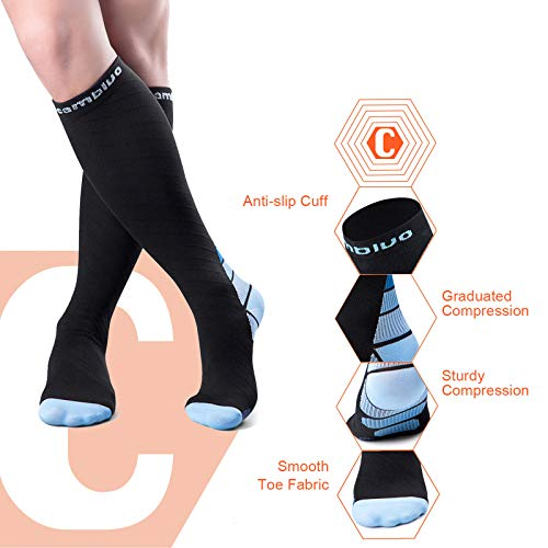 Compression Socks for Men and Women (Blue, S/M)