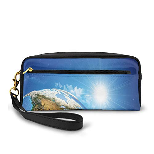 Pencil Case Pen Bag Pouch Stationary,United States View in Space Rising Sun Over The Earth and Its Landforms,Small Makeup Bag Coin Purse