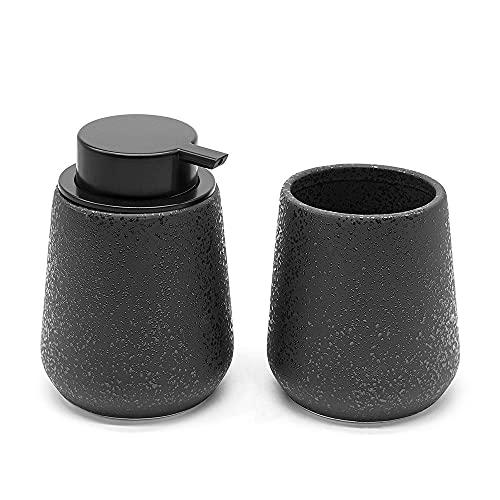 Set accessori bagno in ceramica nera effetto glitter, con dispenser sapone liquido e portaspazzolino