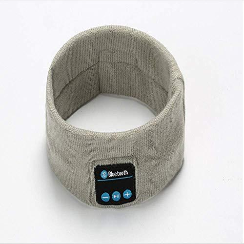 Draadloze Bluetooth Muziek Sport Hoofdband, Hardlopen Yoga Sweat-Absorbens Haarband, Slaap Oortelefoon Lichtgrijs