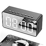 Reloj Despertador Digital LED, Reloj Despertador con Espejo LED portátil con Puerto USB, Pantalla LED Grande, función de repetición para Viajes, Dormitorio, Oficina, Mejor Regalo de Festival-Negro