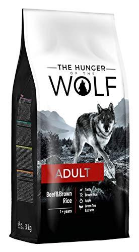 The Hunger of the Wolf - Pienso de ternera y arroz integral para perros adultos de todas las razas, fórmula delicada, 3 kg