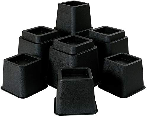 Oakias Furniture Risers 8 Pack Black – Adjustable Bed Risers from 3, 5 up to 8 Inches – Heavy Duty (Supports up to 1500 lbs.)