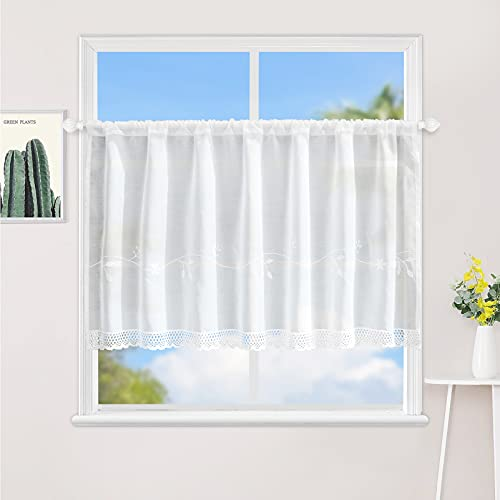 Lace Kitchen Curtain Semi Sheer Cafe Curtains Yarn Embroidery Flowers Leaves Handmade Crochet Lace Valance Beautiful Romantic Wedding Window Decor 12-inch by 47-inch, White