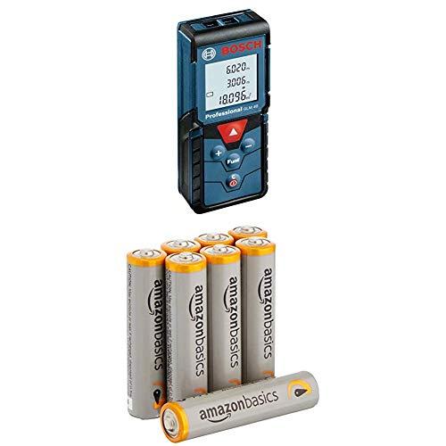 Bosch Professional GLM 40 Laser-Entfernungsmesser (0,15 - 40 m Messbereich, 2x1,5 V LR03, AAA Batterien, Schutztasche) 0601072900 mit Amazon Basics Batterien