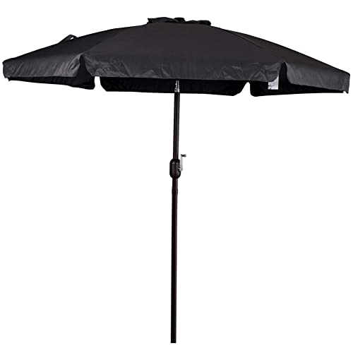 Sundale Outdoor 7.5 Feet Aluminum Beach Drape Umbrella Table Market Umbrella  with Crank and Push Button - Black Patio Umbrellas: Amazon.com