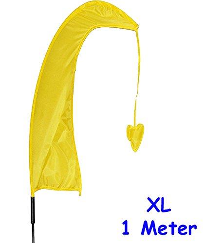 alles-meine.de GmbH 1 Stück _ XL - 1 m - Windfahne / Balifahne -  GELB  - mit Fahnenstange - UV-beständig & wetterfest - Windrichtungsanzeige - aus Nylon / Flagge Windrichtungs..