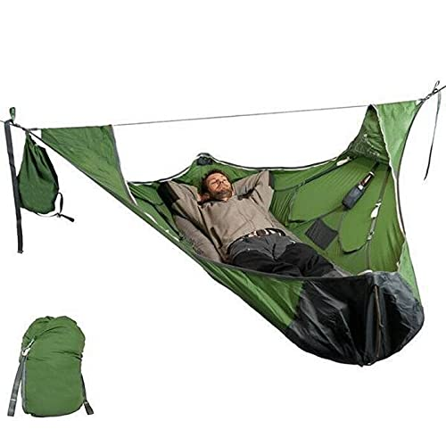 Flat Sleep Hammock Tent with Bug Net and Suspension Kit - Camping Hammock - Camping Cot - Camping Hammock with Rain Fly and Bug Net - Hammock Straps for Trees - Hamacas para Patio - Hammock Bug Net