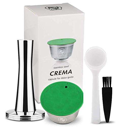 i Cafilas Reutilizable Recargable Cápsula para Dolce Gusto,Filtro Capsule Compatible Dolce Gusto, con Cuchara de café, Cepillo (Prensador Tamper+Cápsula)