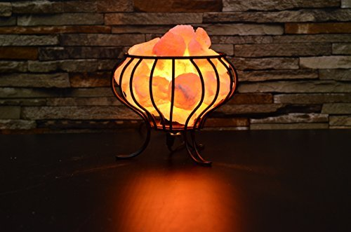 Feng Shui Pink Himalayan Basket Salt Lamp (7 - 9 lbs.)with dimmer switch and bulb.Make the best gifts and home decor.