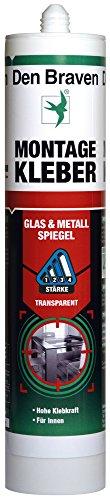Den Braven GKL33A406001 Montagekleber Glas & Metall & Spiegel (-40° bis +100°C), hohe Klebkraft, vielseitig einsetzbar, hochwertiger Klebstoff Made in Germany