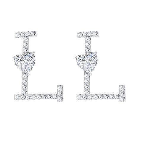 Pendientes de tuerca con monograma, con inicial en L, con forma de corazón, HI-SI de 1/2 quilates, de diamantes redondos, de boda, regalos de Navidad, con rosca trasera blanco