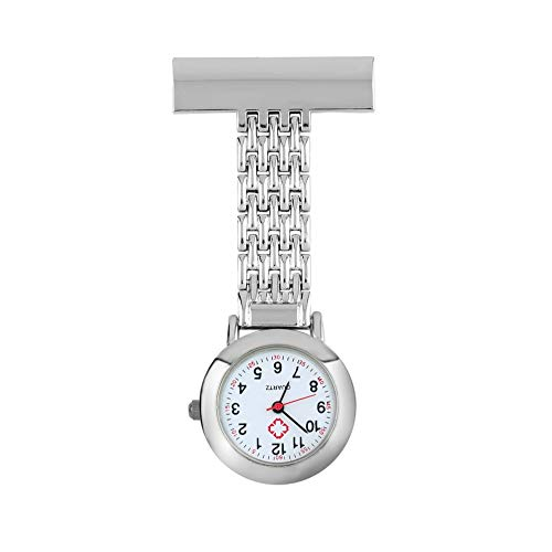 Mujer Hombre Lindo Dulce Acero Inoxidable Números Árabes Mecánicos De Forma Redonda Broche De Cuarzo Doctor Enfermera Reloj De Bolsillo