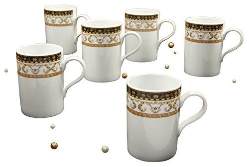 Creatable 15087, Serie Majestosa schwarz, Kaffeebecher Set 6 teilig, Porzellan, Mehrfarbig, 24x29x14 cm