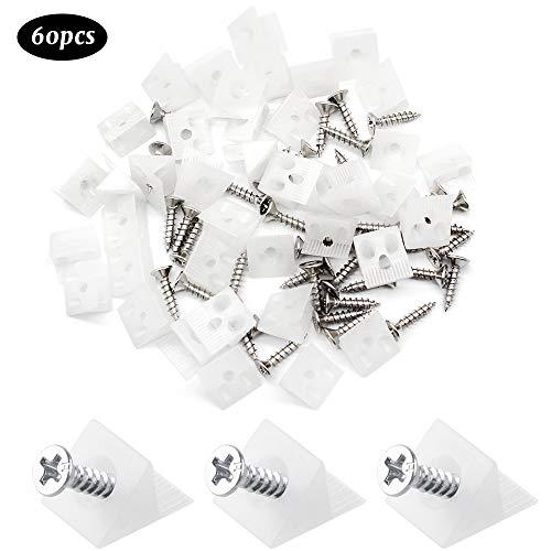 60 Stück Eckstrebe Kunststoffmöbel Kommode Winkelhalterung Reparatur Fix Keile mit Schrauben für durchhängende Schubladenböden reparieren
