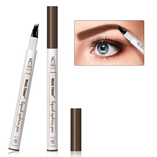 Augenbrauen Tattoo Pen Micro Ink Brow Pen 4 Punkte Microblading Eyebrow Pencil Langlebiger wasserdichter Augenbrauenstift Erstellt Mühelos Tägliches Make-up Natürliche Augenbrauen (Braun EB02)