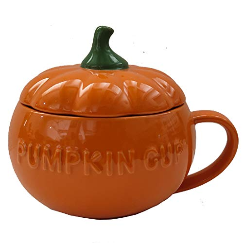 Pumpkin Cup With Lid - 17oz With Large Handle,Perfect For Drinking Coffee,Pumpkin Soup,Hot Chocolate,Ice Cream And Milk,Cool Gifts For Women,1pcs
