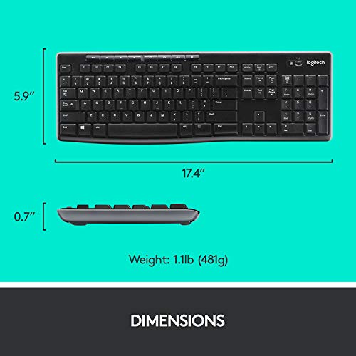 Logitech MK270 Wireless Keyboard and Mouse Combo - Keyboard and Mouse Included, 2.4GHz Dropout-Free Connection, Long Battery Life