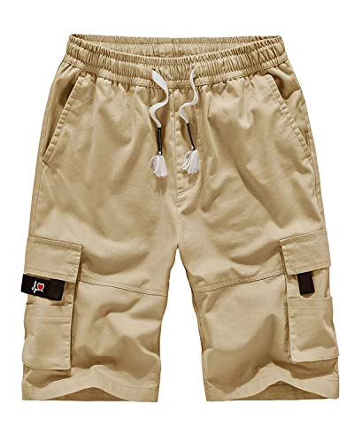 APTRO Men's Cargo Shorts Relaxed Fit Multi-Pockets Cotton Casual Shorts A901 Khaki L