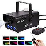 Fog Machine, 7 Color LED Lights, Crenova FM-03 Compact Portable Smoke Machine, Wireless
