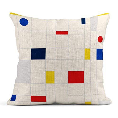 Dekokissen Retro Geometric Bauhaus Swiss Memphis Moderne Hipster-Broschüren in Gelb Blau Rot und Schwarz Farben Leinen Kissen Home Dekorative Kissen