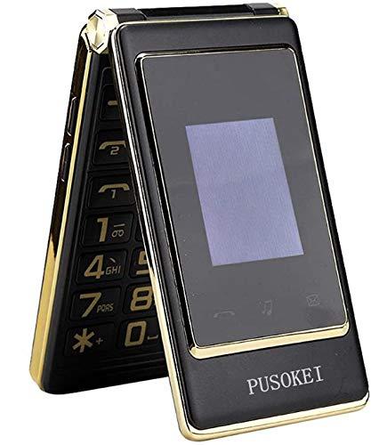 Pusokei Teléfono móvil con botón Grande para Personas Mayores, Pantalla táctil de 6.1 Pulgadas, teléfono con Pantalla Doble, teléfono móvil con Doble SIM, teléfonos móviles con botón Grande(Negro)