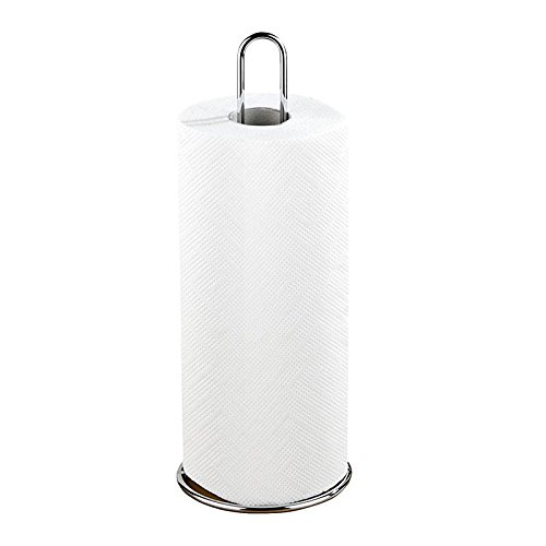 SODIAL Soporte para Rollo de Papel de Cocina, Metal, 12 x 32 x 12 cm, Plata Brillante