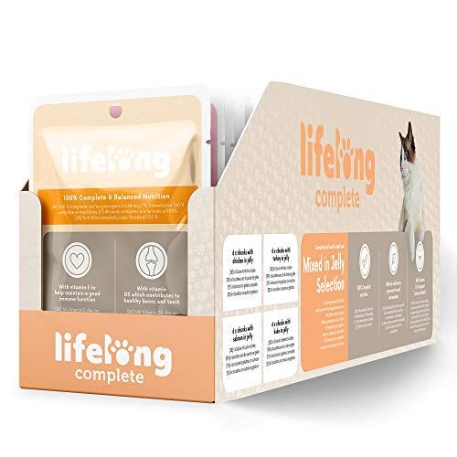 Marque Amazon- Lifelong Aliment complet pour chats adultes- Sélection mixte en gelée, 2,4 kg (24 sachets x 100g)