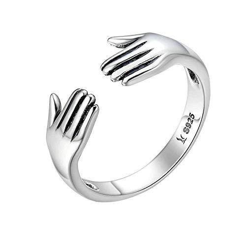 Milageto 925 Sterling Silver Open Engagement Gift Adjustable Size for Women Men