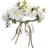 Folora Adjustable Flower Headband Hair Wreath Floral Garland Crown Headpiece with Ribbon for Wedding Ceremony Party Festival (190417D)