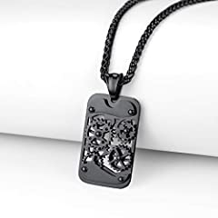 Rotatable Gear Mechanical Style Dog Tag Necklace For Men, Steampunk Style, Wheat Chain(55CM+5CM), Black Plated Stainless Steel Military Jewellery Army Card Pendant Necklace (Gift Packaging), RP20111H #4