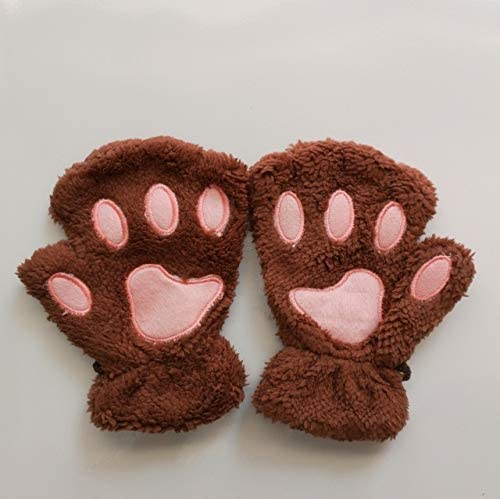 Hot Lovely Women Female Gloves Mitten Women Cat Claw Paw Mitten Plush Glove Costume Cute Winter Warm Half Finger Gloves - (Color: l, Gloves Size: One Size)