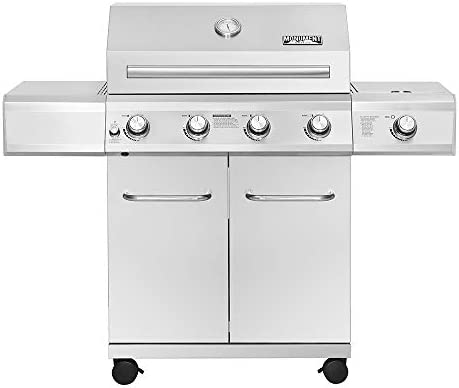 Monument Grills 25392 4 Burner Propane Gas Grill in Stainless Steel with LED Controls Side Burner product image