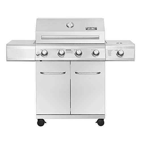 Monument Grills 25392 – 4-Burner Propane Gas Grill in Stainless with LED Controls & Side Burner Grills Propane
